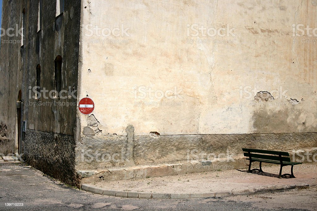 bench in Montemagiore corsica royalty-free stock photo