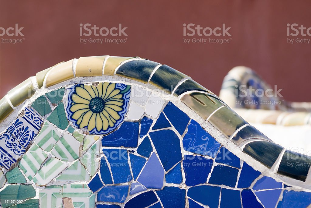 Bench in Parc Guell royalty-free stock photo