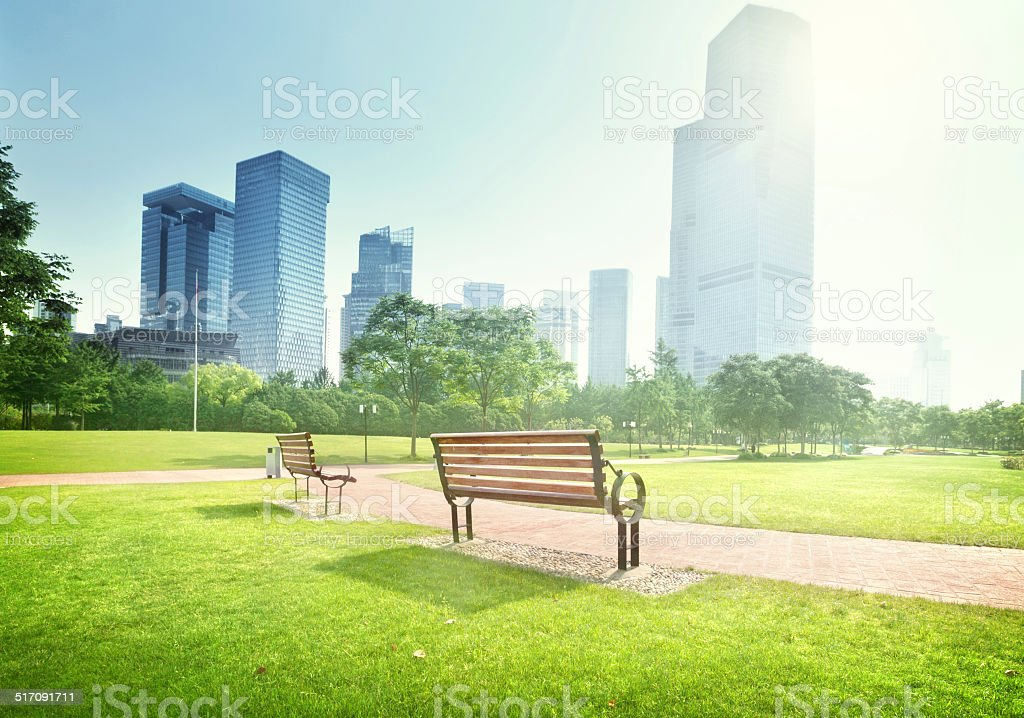 bench in park, Shanghai, China stock photo