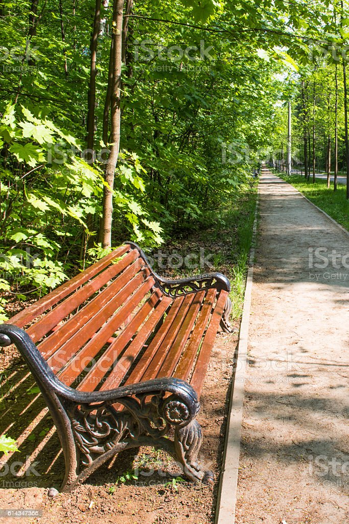 Bench in spring Park stock photo