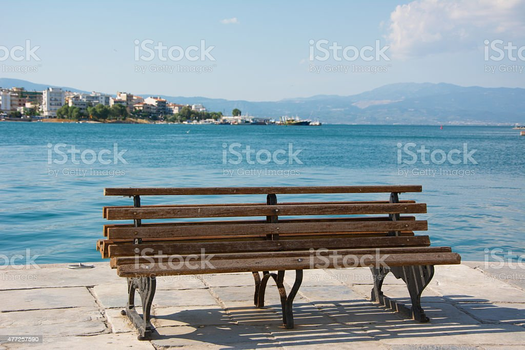 Bench in the beach stock photo