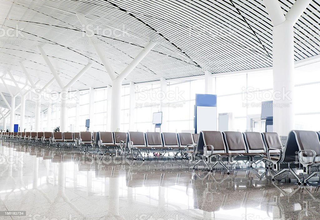 Bench in the shanghai pudong airport royalty-free stock photo