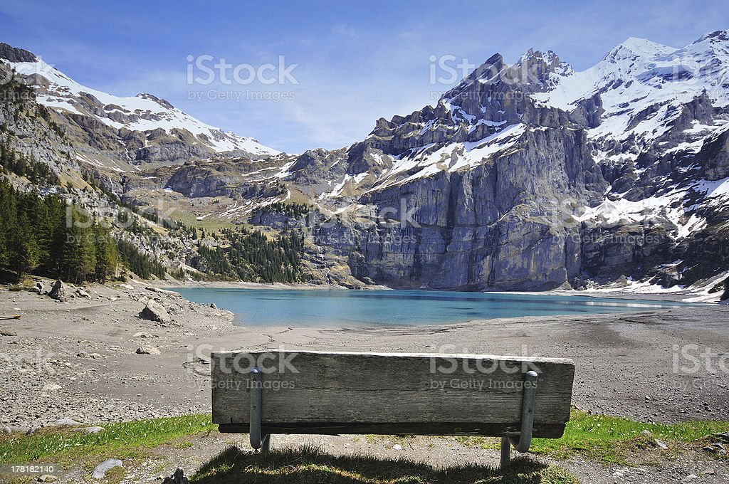 bench, mountains and lake royalty-free stock photo