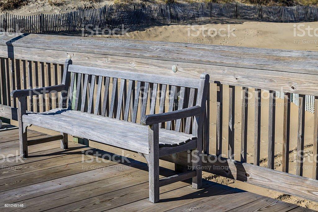 Bench on Fishing Pier at Sandbridge in Virginia Beach stock photo