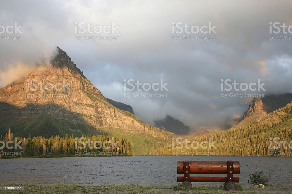 Bench on Lake Shore royalty-free stock photo