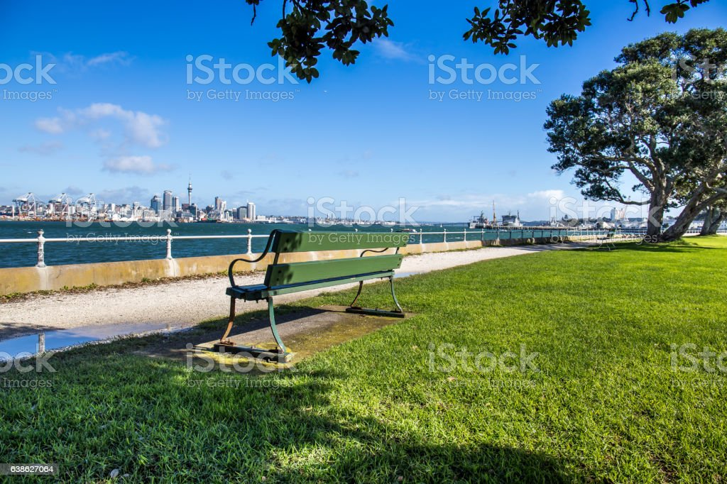 Bench on Queens Parede Reserve, Auckland stock photo