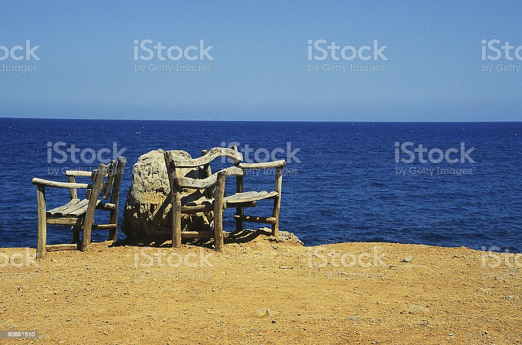 Bench On Shore royalty-free stock photo