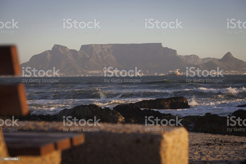 Bench overlooking Cape Town's landscape, South Africa royalty-free stock photo