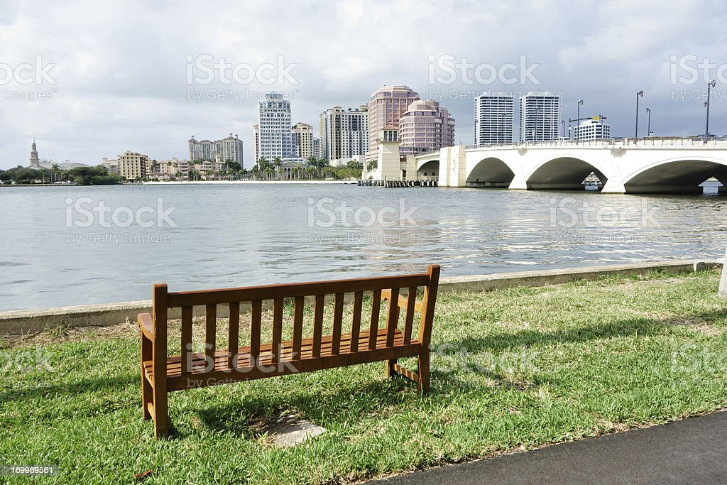 Bench overlooking the Intracoastal Waterway opposite downton West Palm Beach stock photo