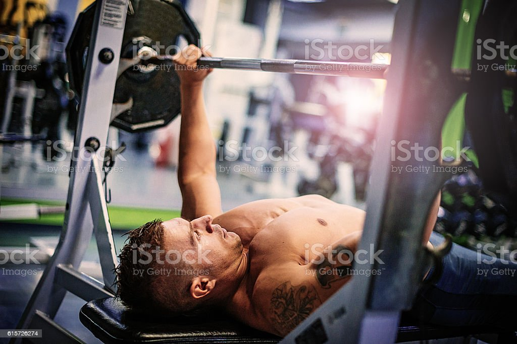 Bench press workout stock photo