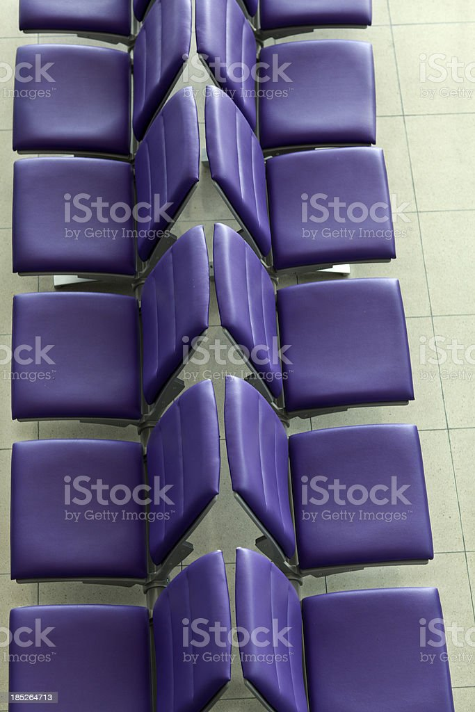 bench purple seats in a row top shot stock photo