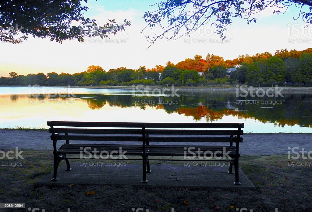 Bench Reflections in Early Fall stock photo