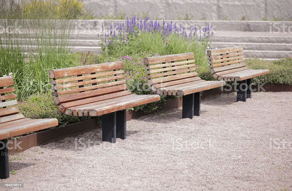 Bench seats in modern park stock photo