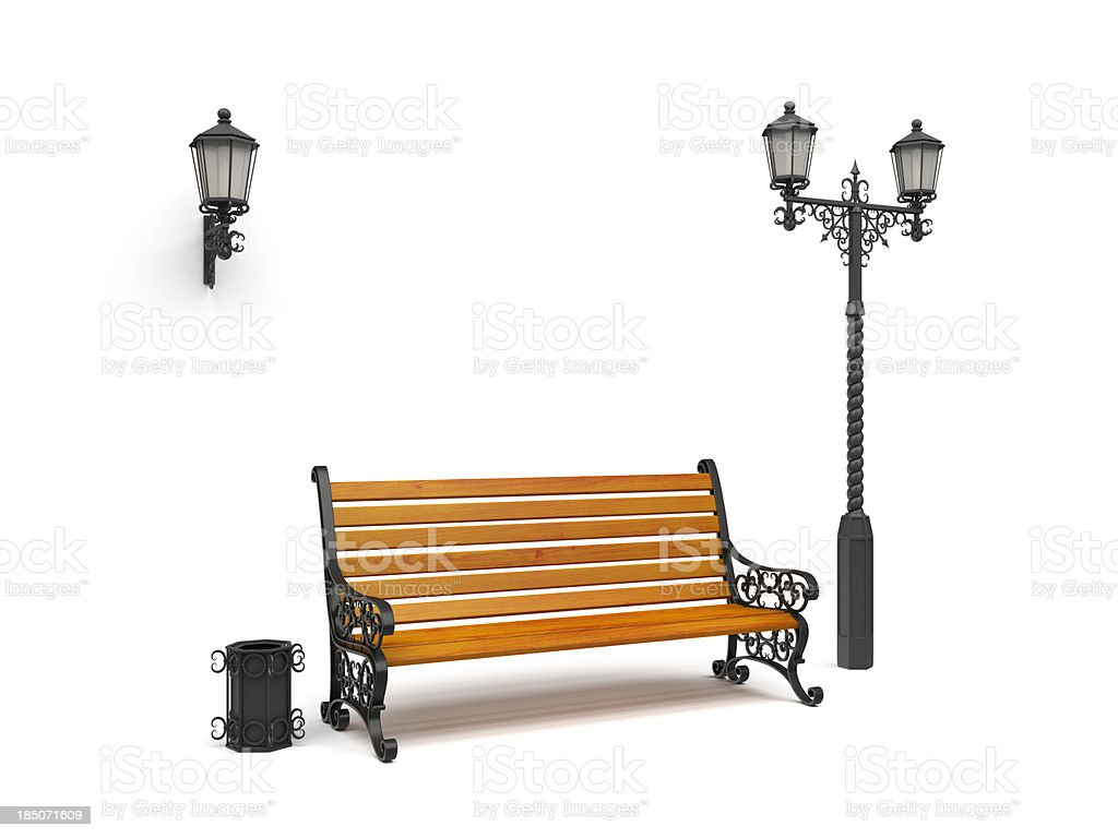 bench, street lamp,basket Isolated On White, perspective view stock photo
