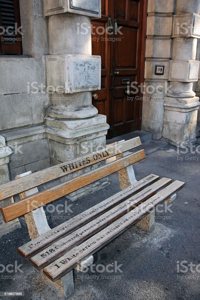 Bench 'whites only' in Cape town, South Africa, ?????? stock photo