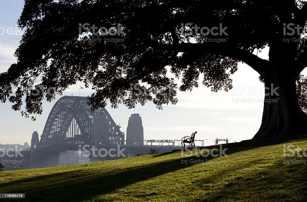 Bench With A Bridge View royalty-free stock photo