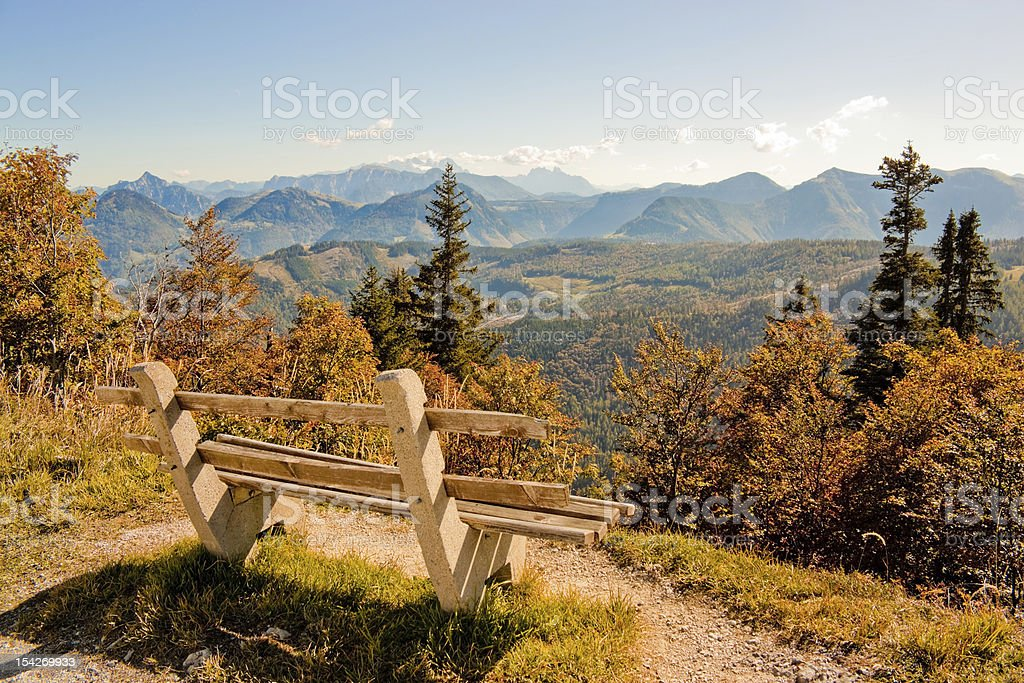 bench with a view of  mountains royalty-free stock photo