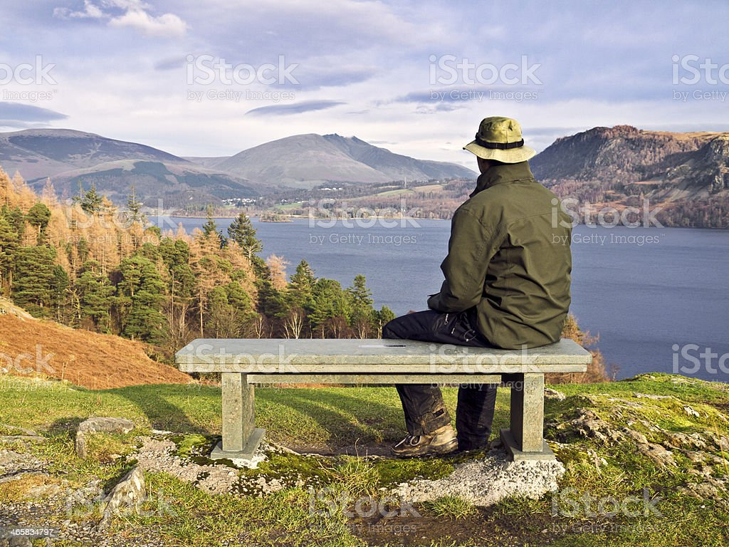 Bench with man. stock photo