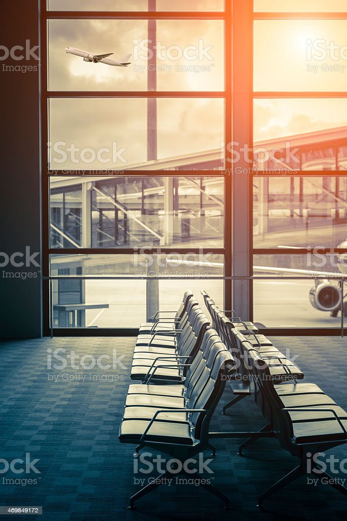 Bench with seats in the Shanghai Pudong Airport stock photo