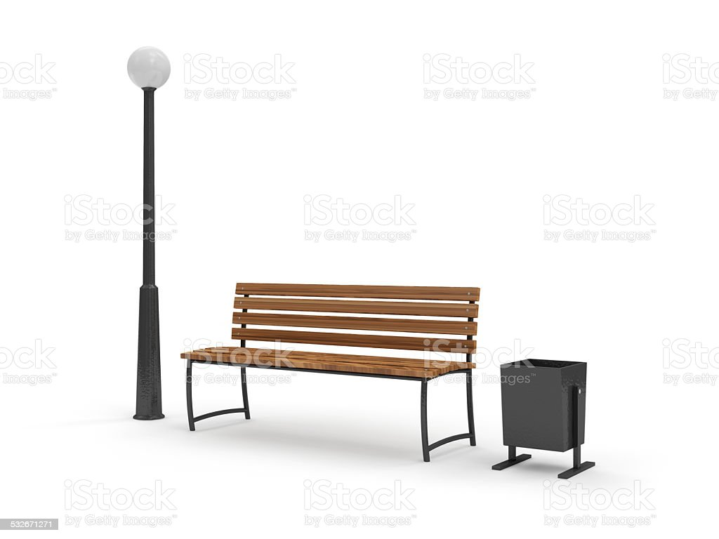 Bench with Street Lamp and bin isolated on white background stock photo