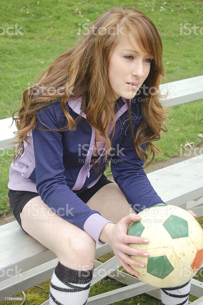 Benched Soccer Player stock photo