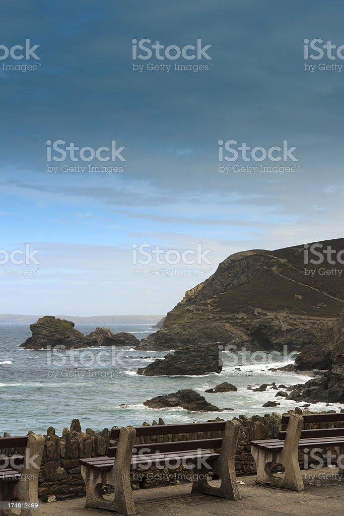 benches along the Cornish coast at St. Agnes royalty-free stock photo