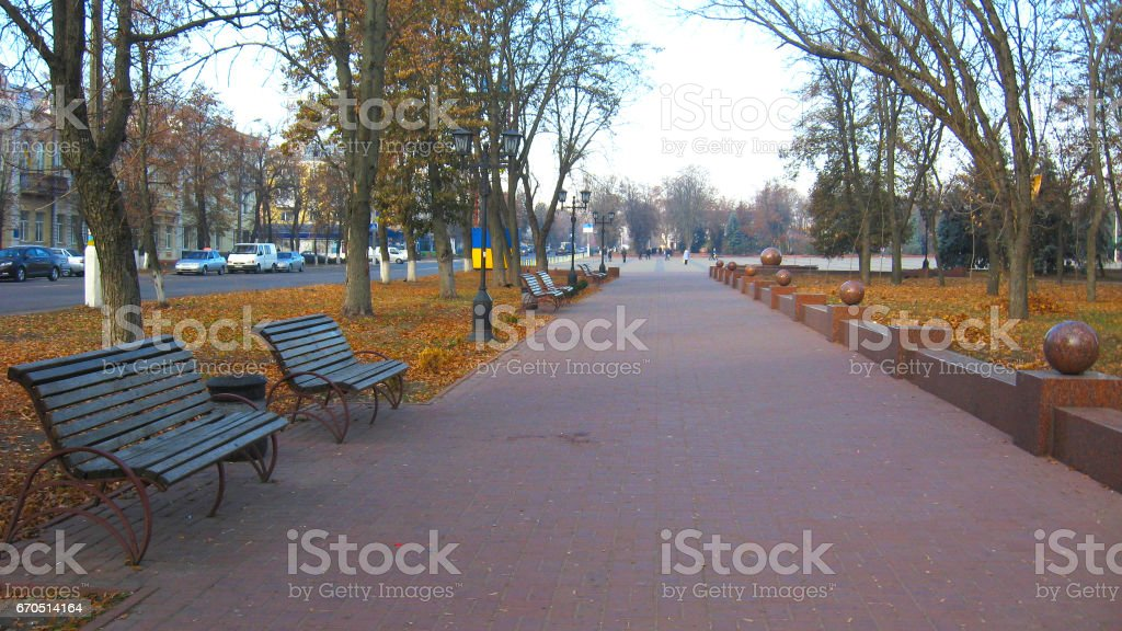 benches and path in the Autumn city park stock photo