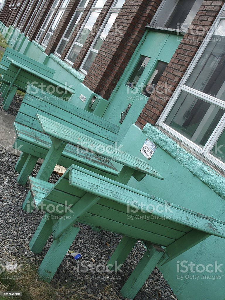 benches and tables royalty-free stock photo
