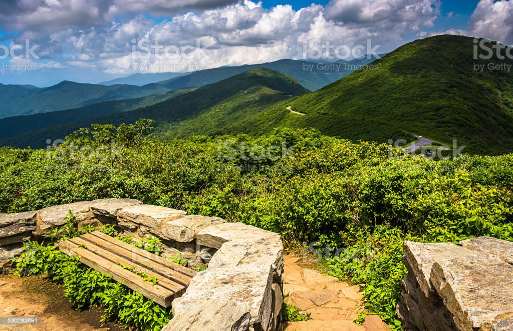 Benches and view of the Appalachians from Craggy Pinnacle, near stock photo