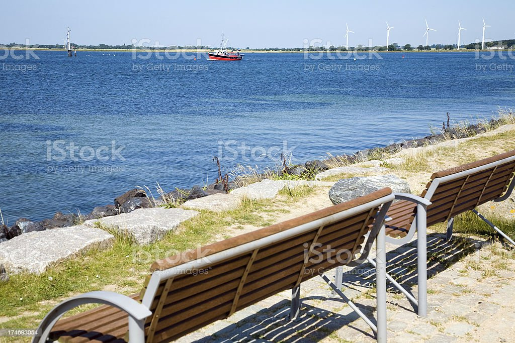 Benches at the Baltic Sea royalty-free stock photo