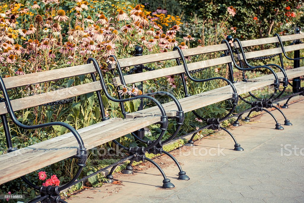 Benches at Washington Square Park in New York City stock photo
