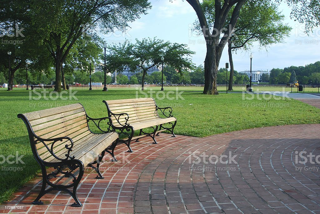 Benches before the White House stock photo