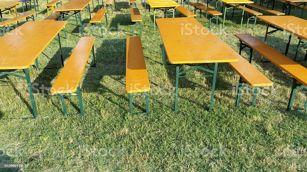 benches for festivals and fairs stock photo