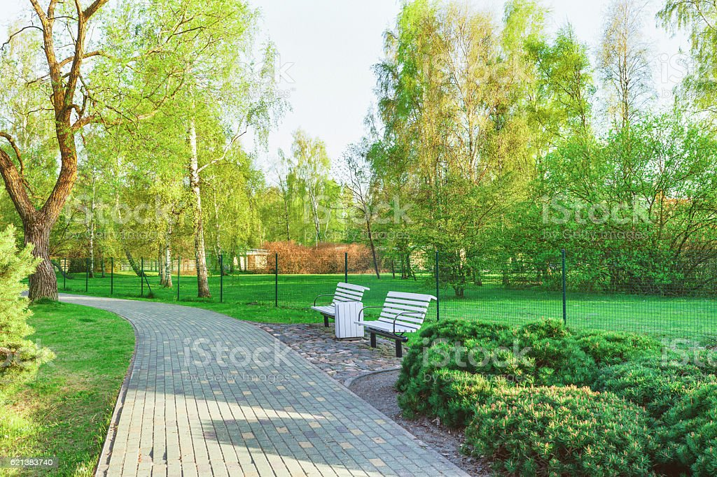 Benches in Jurmalas Park in Ventspils in Latvia stock photo