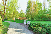 Benches in Jurmalas Park in Ventspils in Latvia