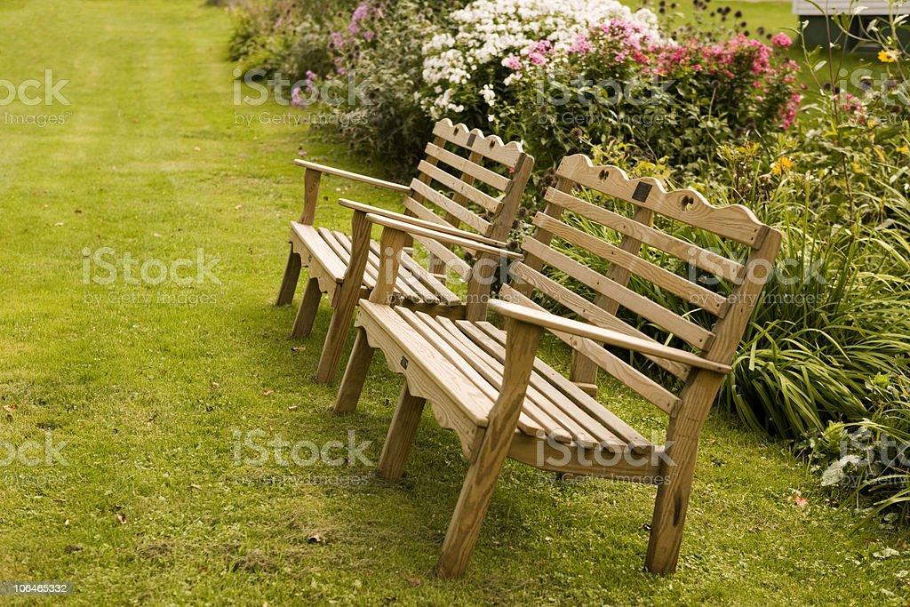 Benches in the Garden stock photo
