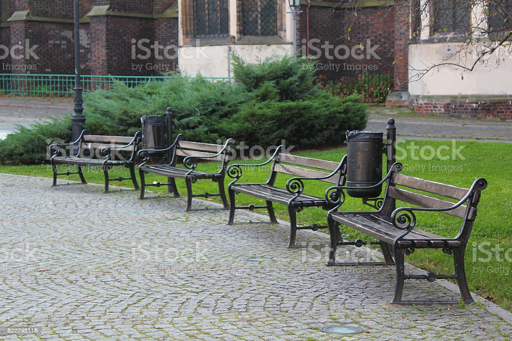 Benches in the park in Wroclaw, Poland stock photo