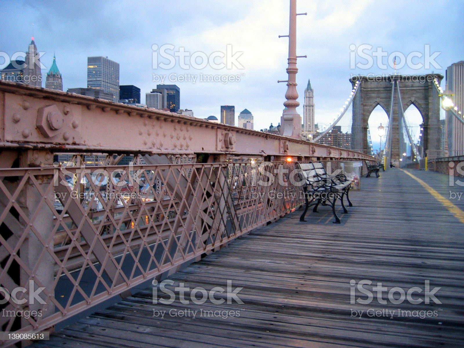 benches on the bridge royalty-free stock photo