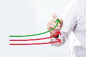 Benchmarking and market leader concept. Manager (businessman, co