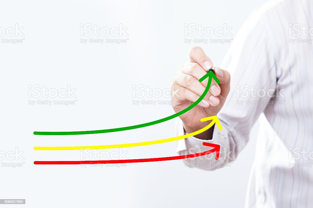 Benchmarking and market leader concept. Manager (businessman, co stock photo