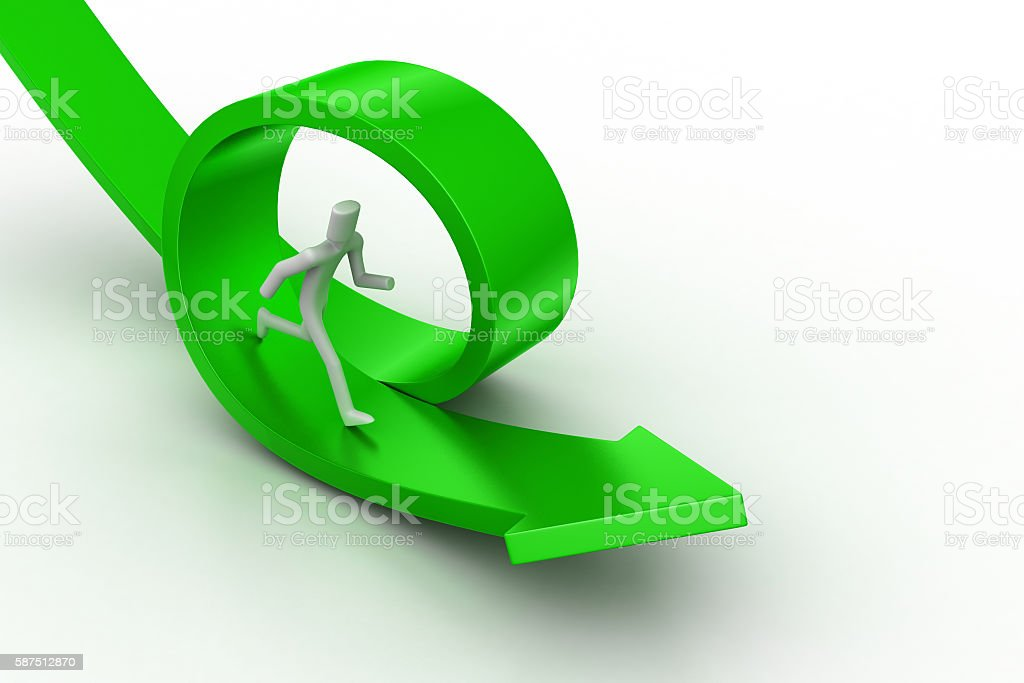 Bend arrows with man stock photo