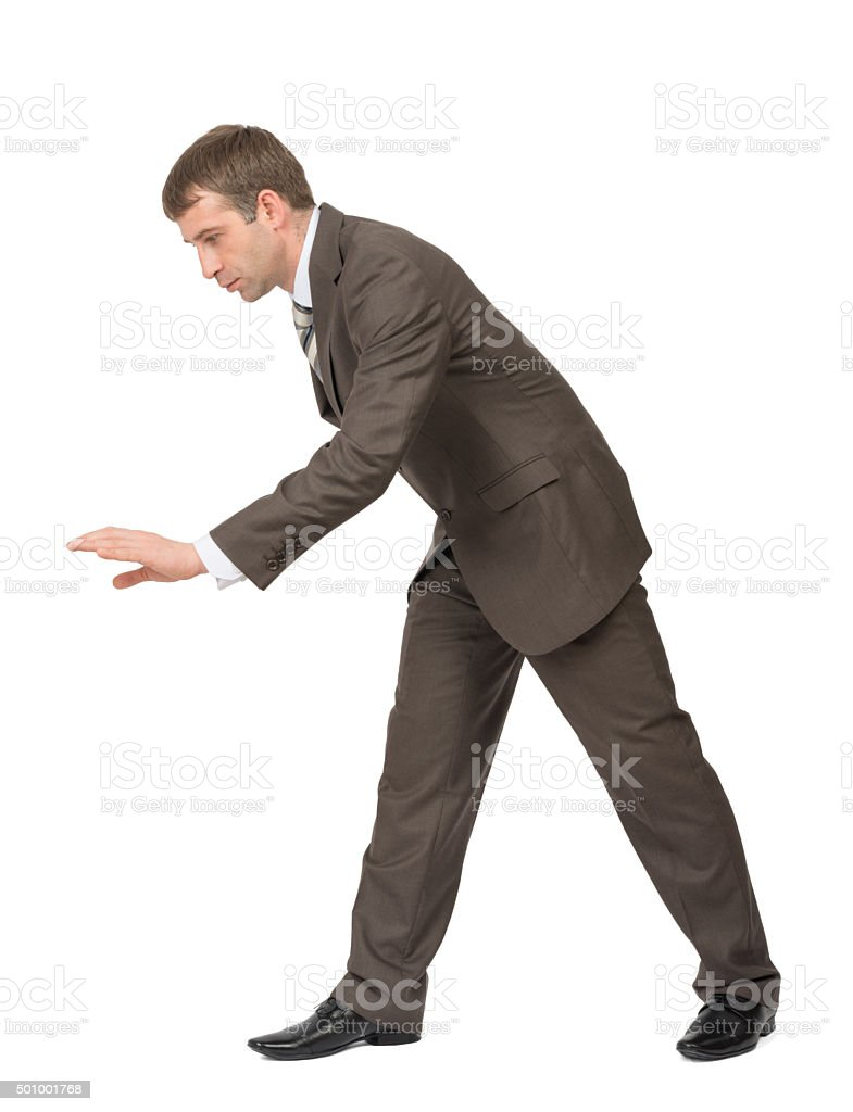 Bend businessman on white stock photo