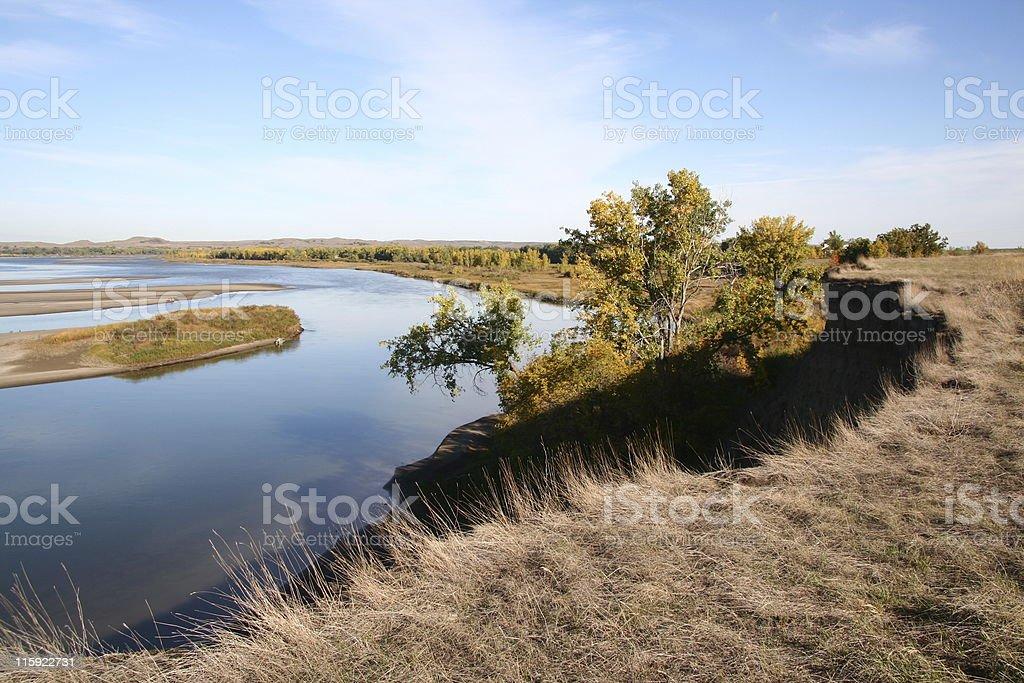 Bend In Missouri River (North Dakota) royalty-free stock photo