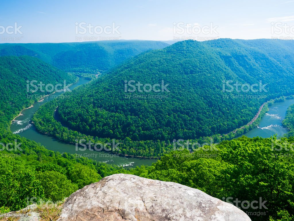 Bend in New River Gorge, West Virginia stock photo