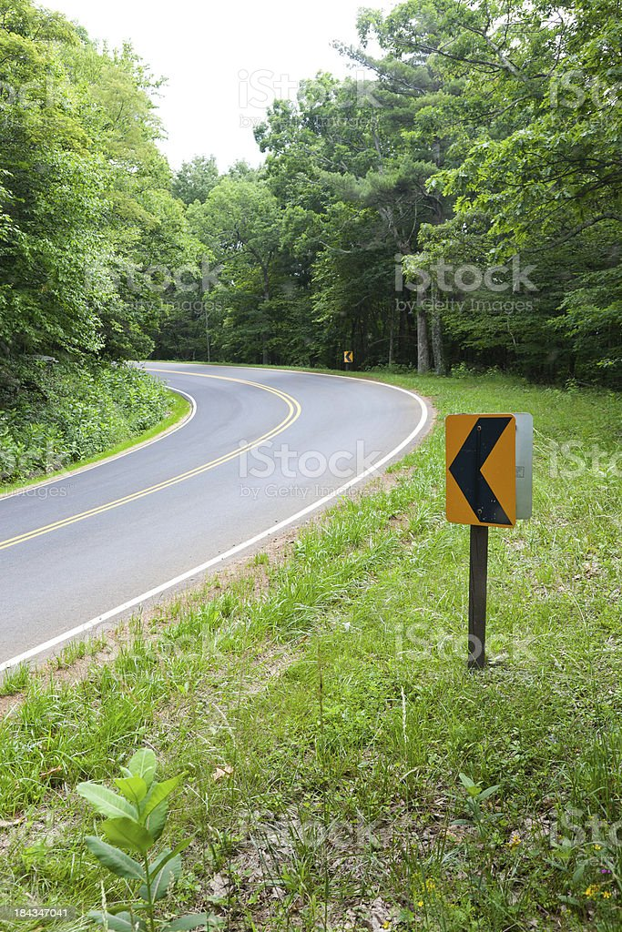 Bend in the Road, Skyline Drive, Shenandoah National Forest, Virginia royalty-free stock photo