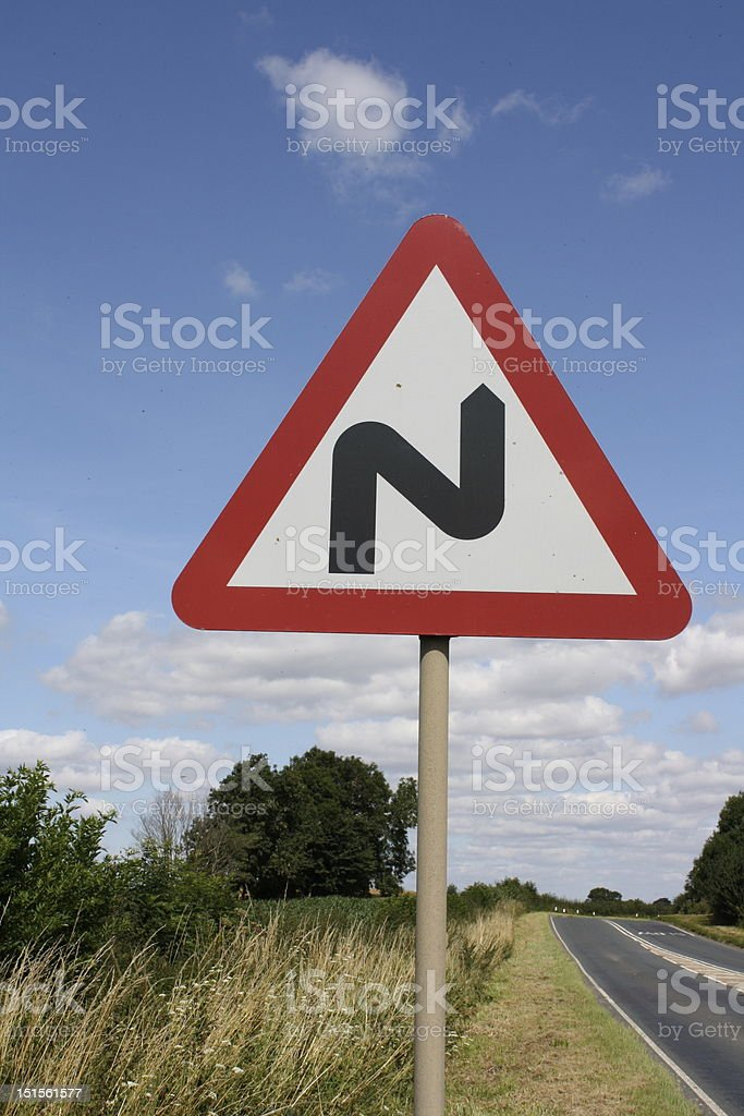Bend In The Road Traffic Sign on Roadside stock photo