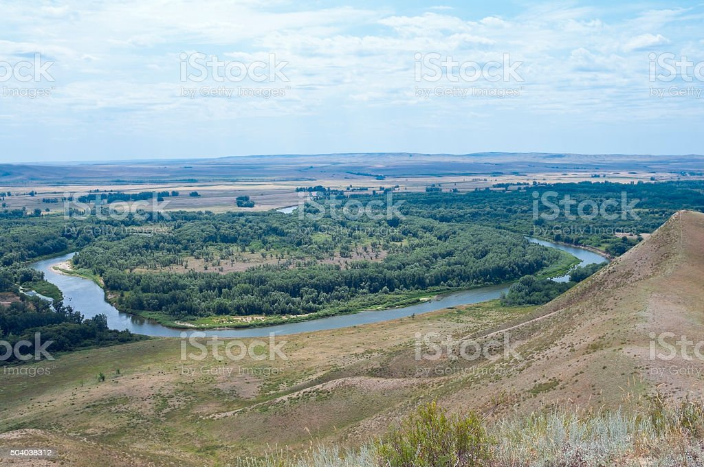 Bend of river, view from the top stock photo