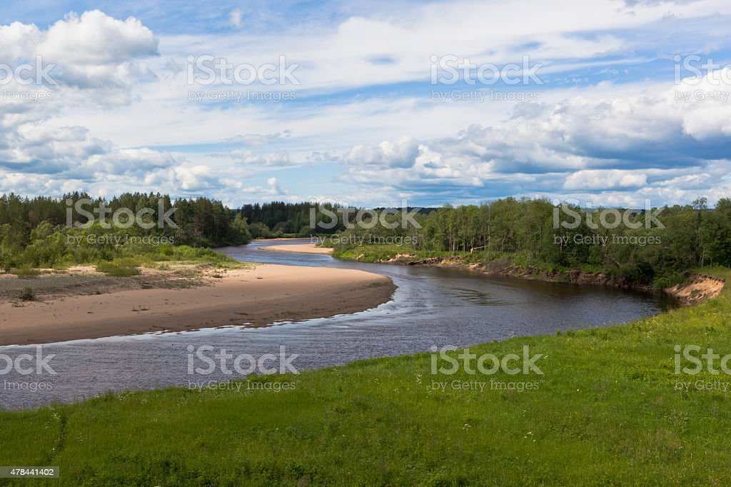 Bend of the river Vaga stock photo