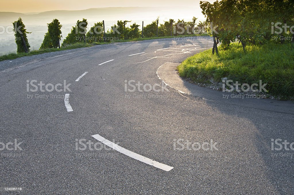 Bend on a road stock photo