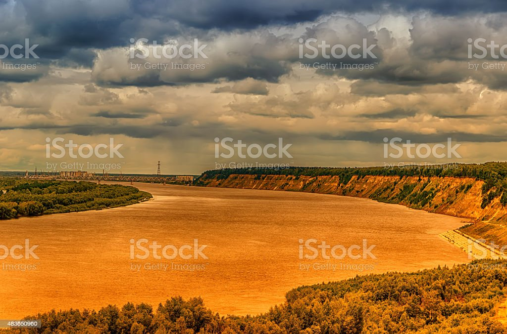 Bending Irtysh river railway bridge centre of Tobolsk Rus stock photo